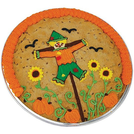 Chocolate Chip Cookie Cake Decorated For Autumn